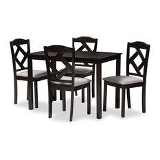 Ruth Espresso Brown And Gray Upholstered 5-Piece Dining Set