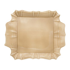 Chloe Square Platter with Handles, Taupe