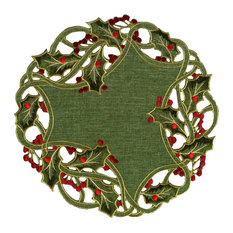 Holiday Holly Embroidered Cutwork Round Doily, Green, Green, 16x16, Set of 4