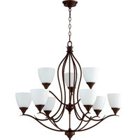 Quorum Fall Flora 9-Light Glass Chandelier, Oiled Bronze