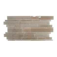"12.63""x23.63"" Studio 8 Linear Mix Mosaic Tiles, Set of 4, Brown"