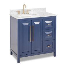 """36"""" Cade Contempo Blue Vanity With Preassembled Top and Bowl, Jeffrey Alexander"""