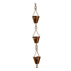 Copper Shade Cup Rain Chain, Half Length