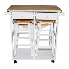 Yu Shan CO USA Ltd 355-21 Breakfast cart with drop-leaf table, White
