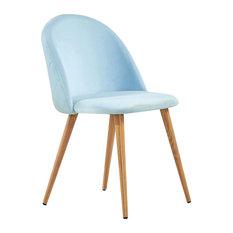 P&N Homewares - Lucia Velvet Chair, Duck Egg Blue - Dining Chairs