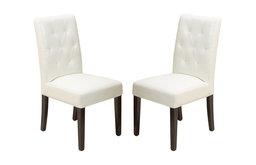 GDF Studio Waldon Leather Dining Chairs, Ivory, Set of 2