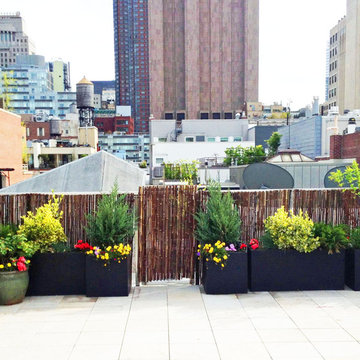 Manhattan Roof Garden: Paver Deck, Terrace, Bamboo Fence, Container Plants, Fibe