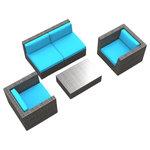 Urban Furnishing - Belize Outdoor Backyard Wicker Rattan Patio Furniture, 5-Piece Set, Sea Blue - - Designer Gray Wicker Pattern