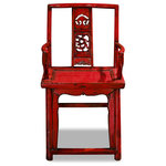 China Furniture and Arts - Consigned Vintage Elm Wood Red Ming Chair - Originally designed for the comfort of court aristocracy, this arm chair's elegant shape now provide a classy touch to any contemporary setting. Hand-carved dragon motif at the chair's back panel adds to its elegant silhouette.  Constructed of Elmwood  which provides long lasting durability. Hand-applied distressed red lacquer glossy finish enhances the extraordinary beauty and form of this elegant piece of furniture. Assembled. This item will be shipped from Westmont, IL 60559 U.S.A