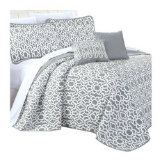 Montgomery Quilted 5 Piece Bed Spread Set, Gray, King
