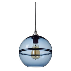 Unique Optic Contemporary Hand Blown Glass Pendant Light, Shade: Blue, 9""