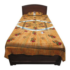Mogul Interior - Bed Cover Indian Inspired Floral Print Cotton Bedding Bedspread Twin Size - Quilts And Quilt Sets