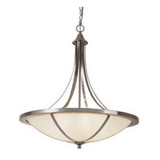 Brushed Nickel and White Frosted Glass 6-Light Chandelier