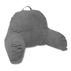 Dark Grey Microsuede Bed Rest Reading Pillow with Arms