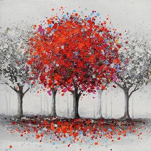 """""""AlberoRosso"""" Acrylic Painting, 80x80 cm"""