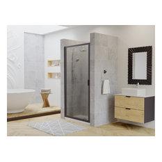 "Paragon Framed Continuous Hinge Shower Door, Obscure, Black, 24""x66"""