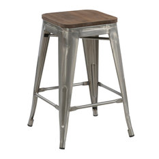 Spur Metal and Wood Counter Stools, Set of 4, 24""