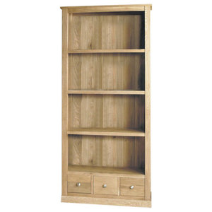 4 Shelf and 3 Drawer Mobel Oak Bookcase
