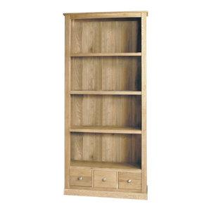 4 Shelf and 3 Drawer Mobel Oak Bookcase