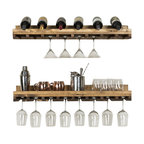 "Rustic Luxe Wine Glass Shelves, Set of 2, Walnut, 36""x10""x6"""