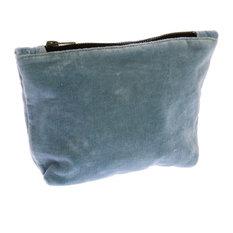 "Retro Soft Blue Velvet Zipper Pouch | 6"" x 9"" Bag Holder Tote Jewelry"