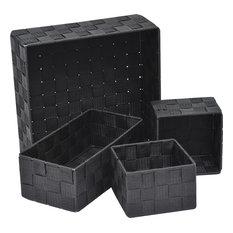 Checkered Woven Strap Storage Baskets, 4-Piece Set, Black