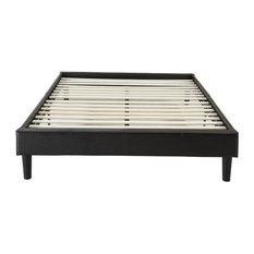 Modern Espresso Brown Bonded Leather Platform Bed, Queen