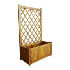 vidaXL Solid Acacia Wood Garden Raised Bed with Trellis Outdoor Flower Bed Box