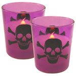 LumaBase - Battery Operated LED Wax Candles in Glass Holders, Skull and Crossbones, Set of - Battery operated Skull candles are the perfect accessory for your Halloween décor. With a sinister black skull and crossbone in a purple glass , they can be used alone or as a bigger part of a display. This set of two LED glass candles printed with a skull & crossbones contain genuine wax and a flickering amber  LED light. These flameless candles have a convenient  timer incorporated, 6 hours on and 8 hours off. Each candle uses 2 AA batteries (not included).