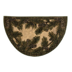 """Cozy Cabin Rustic Lodge  Kitchen Accent Rug, 19""""x31"""" Half Moon, Pine Cone Gingha"""