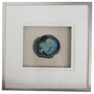 Large Blue Agate With Silver Wood Frame