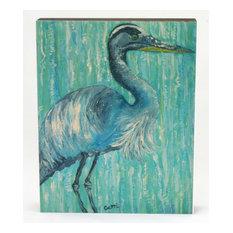 "Beautiful Blue Heron Wood Art, 11x14"""