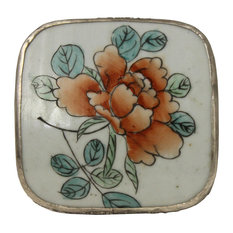 Chinese Old Colorful Flower Painting Porcelain Art Nickel Trinket Box
