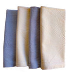 Bella Bohemian™ - Gray and Ivory Napkins, Set of 4 - Set of four (4) pre-washed cotton napkins, in gray and ivory colors. They are simple, not perfectly square, and wash easily and look great.  Made of 100% natural, sustainable cotton. Our custom napkins with their mellow wrinkles add a rustic touch to your table and party. Handmade, these napkins feature our own custom tag to ensure the quality one would expect from the Bella Bohemian name. Each napkin is soft to the touch yet made to last, and can be used every day as a great substitute for paper. Also it's a perfect gift for any occasion