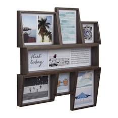 Edge Multi-Opening Wall Photo Display, Aged Walnut