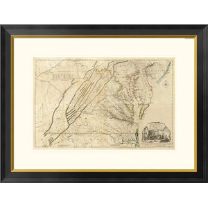 Jamaica Vintage Old B W Map Print On Canvas With Black Custom Frame 16 X 21 Traditional Prints And Posters By Spotcolorart Usa