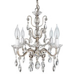"Amalfi Decor - Madeleine 4-Light Chic Glass Crystal Chandelier, Silver - Dimensions: 13.5"" (Length) X 13.5"" (Width) X 14"" (Height)"