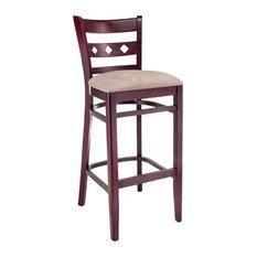 Diamond Back Bar Stool, Base: Dark Mahogany, Seat: Beige
