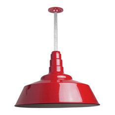 "Barn Lighting 20"" Pendant With Rigid Stem, Red"