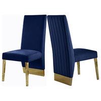 Porsha Dining Chair, Set of 2, Navy Velvet, Gold Legs