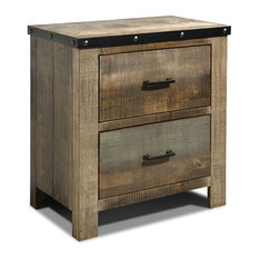 Wooden Nightstand With Rough Sawn Design & Rivet Banding Brown