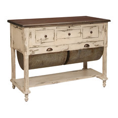 48? Distressed Cream And Gray Stain Possum Belly Wooden Kitchen Island