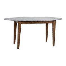 Graham  Oval Dining Table Dark Walnut W/Stone Top