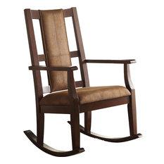 Acme Furniture   Butsea Rocking Chair, Brown Fabric, Espresso   Rocking  Chairs