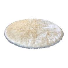 Super Soft Faux Sheepskin Silky Shag Rug, Cream, 12' Round