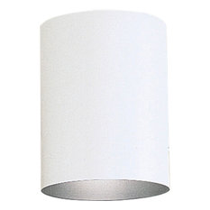 """Cylinder 5"""" Outdoor Flush Mount, White and Metal shade, LED"""