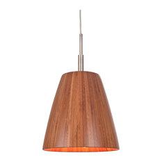 Sorg 1-Light Bamboo Shade Mini Pendant, Satin Nickel
