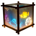 Harmony Lantern - Tropical Fish Lantern Night Light - Our Harmony Lanterns consist of two main parts: the lamp itself, and an insert which is inserted into the lamp. The two combine to create a moving light show on the paper shade of the lamp.  If a little finger poked a hole in rice paper, simply remove the torn paper and place that side close to the wall.  You will then see the image dancing on the wall as well.
