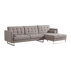 Divani Casa Maria Smith Modern Brown Fabric Sectional Sofa Sofas