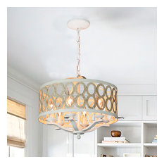 """Canyon Home 6 Light Drum Chandelier (16"""" Wide) Steel Frame"""